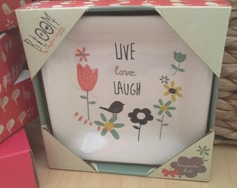 live LOVE laugh- trinket dish perfect for jewelry in a gift-ready box