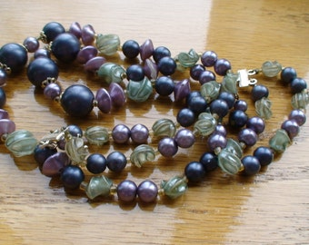 Mid-Century Two-Strand Beaded Necklace, marked Hong Kong, Warm Lavender, Metallic Grey Beads