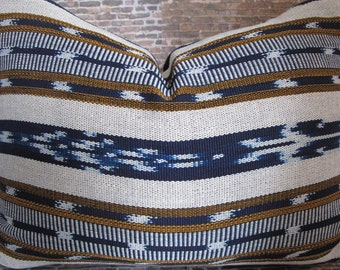 Blue Ikat Pillow Etsy