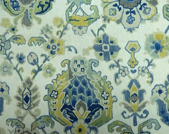 Designer Pillow Cover  - JRDM Floral Motif Linen Blue