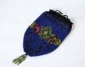 25% OFF SALE / 1900s vintage purse / antique beaded purse / blue glass bead reticule
