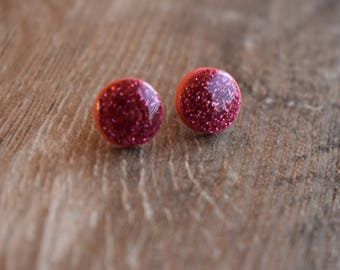 Glitter earrings, 12mm studs, polymer clay and resin, blush