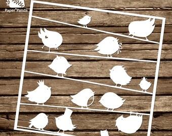 PAPER PANDA Papercut DIY Design Template - 'Robins'