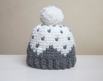 Crochet pattern Let it snow knit look hat , fair isle, women Sweedish pom pom beanie , DIY,  Instant download