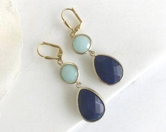 Navy Blue and Aqua  Earrings in Gold. Dangle Earrings.  Bridesmaid Jewelry. Wedding Jewelry. Gift. Dangle Drop Modern.