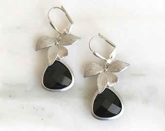 Black Stone and Silver Orchid Dangle Earrings in Silver.  Black Teardrop Drop Earrings.  Gift. Dangle Earrings. Drop Earrings. Jewelry.