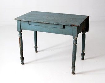antique farm table primitive blue kitchen table - Antique Farmhouse Kitchen Tables