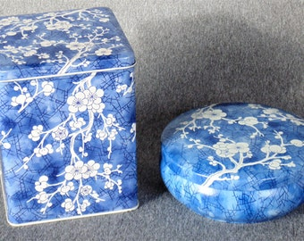 2 Daher Coffee Tea Tins With Matching Lids Blue With White Cherry Blossom Design Container Made In England