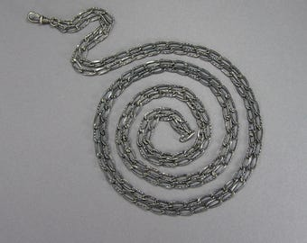 Antique Silver Chain, Muff Chain, 61 Inches, 800 Silver, Gun Metal Gray, Victorian, Patterened Link, Vintage Jewelry