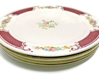 Vintage Homer Laughlin Majestic Dinner Plates - Pattern W538 - Set of 4 - 10-inch