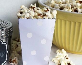 XOXO SALE Mini Silver Popcorn Boxes, Blue Party Favor Boxes, Wedding Favor Boxes