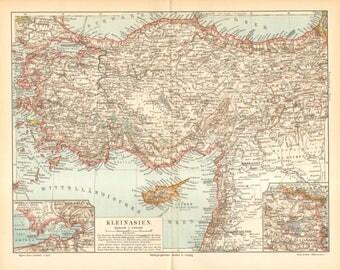 1896 Original Antique Map of Anatolia or Asia Minor in the 19th Century