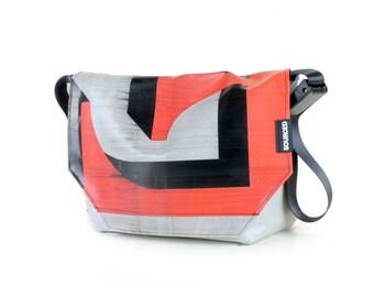 Large Messenger Bag made from Recycled Truck Tarp, Man Bag, Satchel Style Bag, MacBook Bag (58.01)