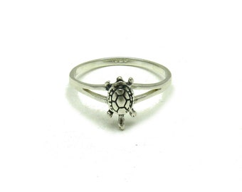 Sterling silver solid 925 small turtle ring pendant