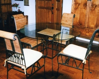 Dining set in Bamboo & Cast Iron - One table Four chairs
