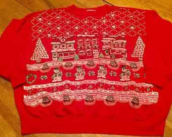 Ugly Christmas sweater, ugly xmas sweater, holiday sweater, tacky sweater, cat sweater, cat sweatshirt, cat
