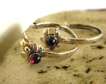 Silver half hoop post earrings sterling silver garnet stone oxidized ethnic earrings, rustic garnet earrings, gift for her