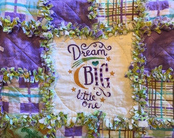 Baby Toddler Rag Quilt  in Flannel with Embroidery in Purples & Greens