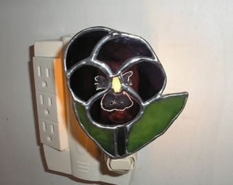 LT Stained Glass Pansy flower night light lamp made with a purple clear textured glass my hand made in the USA glass art