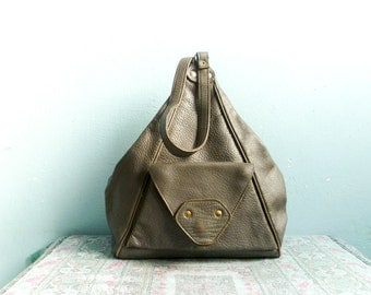 Vintage Grey Leather Shoulder Bag Handbag Crossbody / Thick Leather / Triangular / Zippered