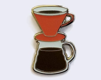 Pour Over Coffee Enamel Pin (Glow-in-the-Dark)