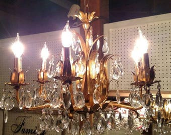 Gorgeous Large Vintage Gold Leaf Hollywood Regency Six Arm Chandelier Completely Restored!