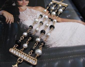 Gold tone bracelet, pearl bracelet, wedding bracelet, bridal bracelet, bridesmaid, crystal bracelet, pearl cluster, swarovski