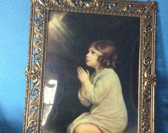 Antique Brass Italian frame with convex glass intact large frame vintage print heavy stunning brass frame