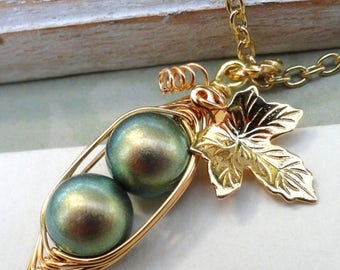 Mothers Day Sale Two Peas in a Pod Necklace,Two Green Peas In A Pod,Sisters Necklace,Mothers Necklace,Bridesmaids Necklace