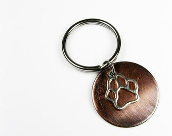 Pawprint Keychain - Dog Lover Gift - Paw Print Key Chain for Dog Owner, Animal Gift for Pet Lover
