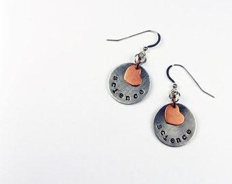 Science and Math Love Earrings - Heart Earrings for Scientist, Math Teacher Gift