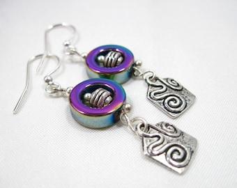 Rainbow Hematite and Tibetan Silver Charm Earrings