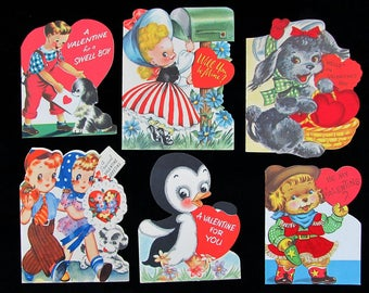 Vintage 40s Valentine Card Lot of 6 single fold - 3 with flocking - approx 5x4