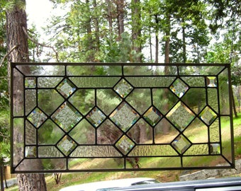 Triple Beveled Diamonds Stained Glass Window-Can be displayed horizontally or vertically