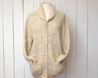 Flash Sale 25% Off Pendleton Wool Sweater 1970s Vintage Cream Beige Zip Up Cowl Collar Cardigan Pocket Sweater Large