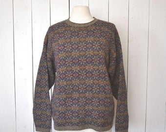 Flash Sale 25% Off Snowflake Sweater Early 90s Fair Isle Wool Knit Pullover Gray Purple Woodland Vintage Sweater Large