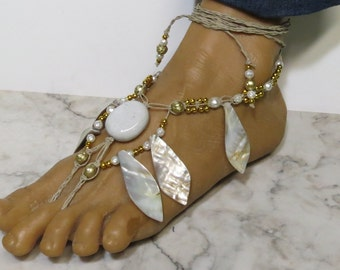CLEARANCE!  Pair of white and gold shell fancy barefoot sandals made with hemp.  Beach and bellydance fashion. HFT-262