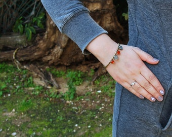 Boho Multi Stone Bracelet, Brass Bangle Bracelet, March Birthstone Aquamarine, Carnelian Gemstone Bangle Bracelet, Gold Bangle Bracelet