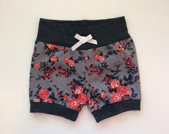 Gray and Pink Floral Hipster Baby Shorts / Baby Girl Shorts / Bubble Shorts