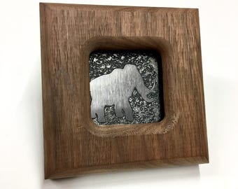Mammoth - Etched Stainless Wall Art - Handmade, Frame and All