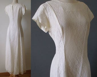 La Simonelle Ivory Lace Dress ~ 1950's Wedding Lace  Gown ~ Size M