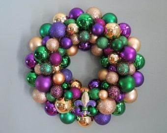 MARDI GRAS  Wreath Ornament Wreath with 3-color  Fleur-de-lis