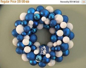 On SALE DUKE BLUE Devils Ornament Wreath