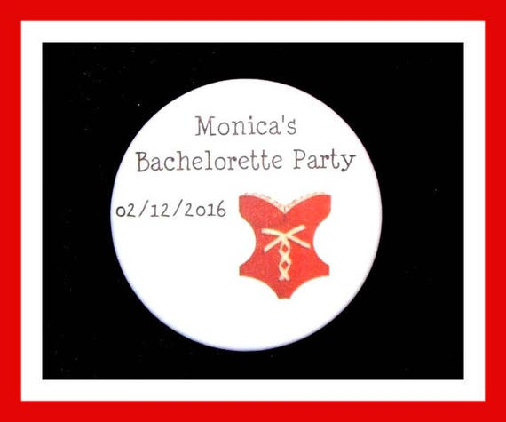"Bachelorette Party Favors,Bridal Favors,Wedding Favors,Corset Favors,Bride To Be Favors,Personalized Button Pin - 2.25"" - Set of 10"