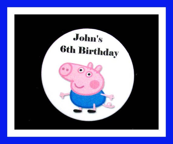 Birthday Party Favor, Personalized Button,Pig Pin Favor,School Favor,Kid Party Favor,Boy Birthday,Girl Birthday,Pin,Favor Tag Set of 10