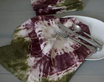 Tie Dye Linen Napkins, Moss Plum Linen Napkin, Picnic Napkin, Rustic Linen Napkin, Eco-Friendly Reusable Napkins, Cloth Napkin, Paper Free