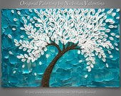 """Large 24""""x36""""x1.5"""" Original Blossom Tree Painting - Palette Knife - Impasto Textured Gallery Stretched Canvas * Turquoise * Teal * FREE S&H!"""