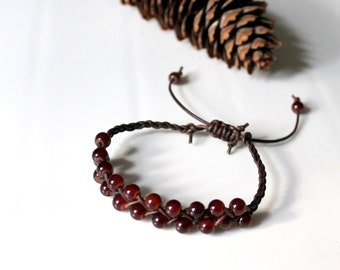 Braided Leather Bracelet with Rusty Brown Glass Beads, Friendship Bracelet, Boho, Stackable
