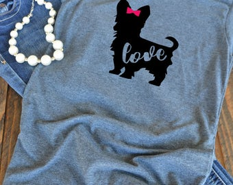 Yorkie love t-shirt  - Girl Yorkie - Yorkshire Terrier - Yorkie mom woman's graphic t-shirt - dog mom