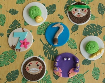 Fondant Hawaiian Maui Coconut Face, Hook, Crab and Age Cupcake Toppers for Cupcakes, Cakes or Cookies